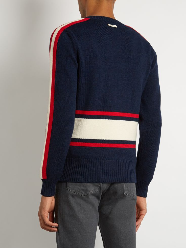 Walking tiger-appliqué wool sweater  | Gucci | MATCHESFASHION.COM UK