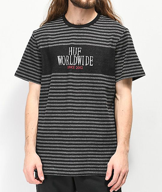 443cac486d HUF Void Black & Grey Striped Knit T-Shirt in 2019 | Summer clothes ...