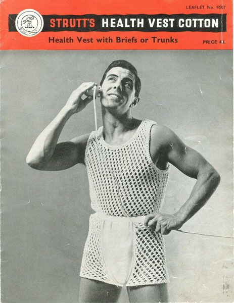 Fabulous vintage knitting pattern for mens underwear. How grat is this? Health vest and briefs - who said knitting isn't fun! This is a grat set knitted in cotton similar to dish cloth cotton - not exactly flattering, but definately healthy!