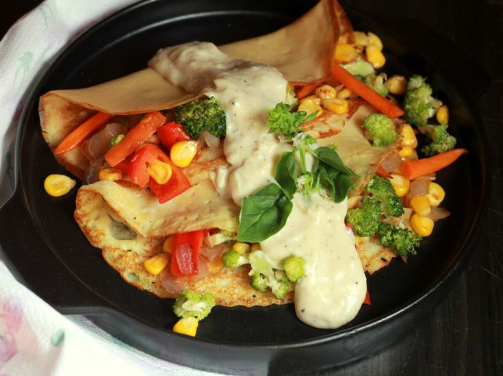 Make this wholesome breakfast to start your day on a healthy note; whole wheat crepes with the goodness of veggies with white sauce. Addition of herbs gives awesome flavours to the dish. Serve with a glass of juice. Recipe by Madhuli .   Click here for recipe: http://ift.tt/28Ol8EE #Vegetarian #Recipes