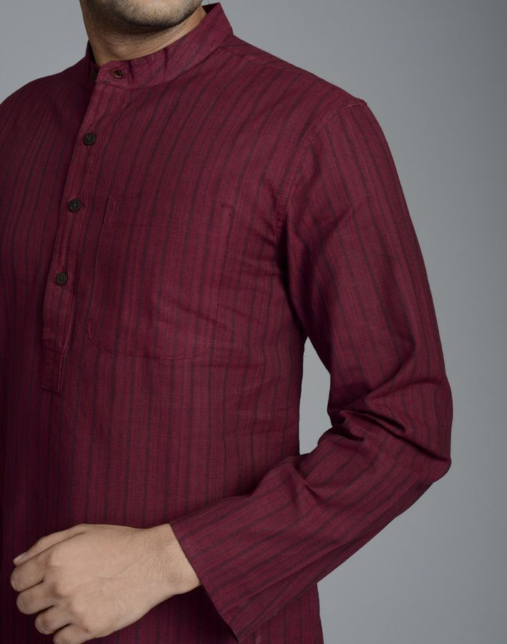Long Fitted Kurta Cotton FabricStripeChinese Collar Full SleevesHand Wash separately in cold water
