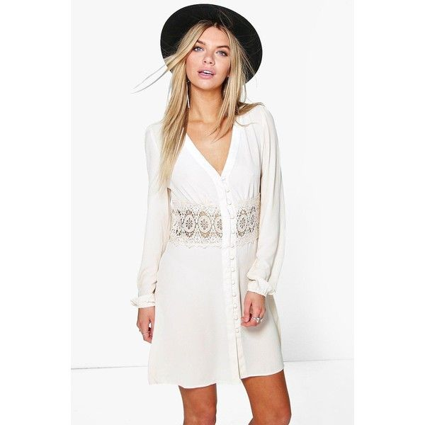 Boohoo Carrey Lace Waist Trim Shirt Dress ($40) ❤ liked on Polyvore featuring dresses, long-sleeve mini dresses, maxi dresses, white dress, white midi dress and bodycon midi dress