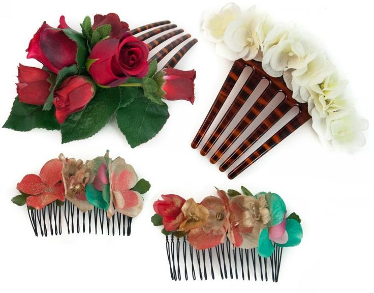 Peinecillos de flores para flamenca de #NaniMoreno a la venta en @Azaranda Complementos Complementos