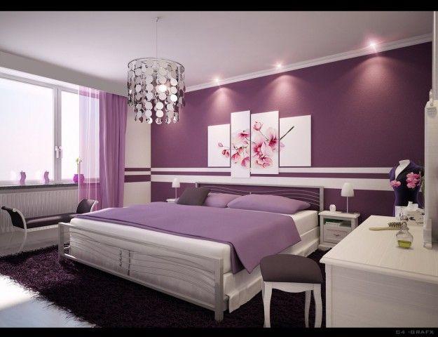 Camera da letto con pareti lilla - Pareti lilla per arredare la camera da letto in stile moderno.