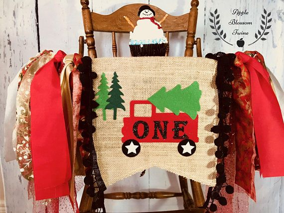 Tree Truck Highchair High Chair Birthday Banner Christmas