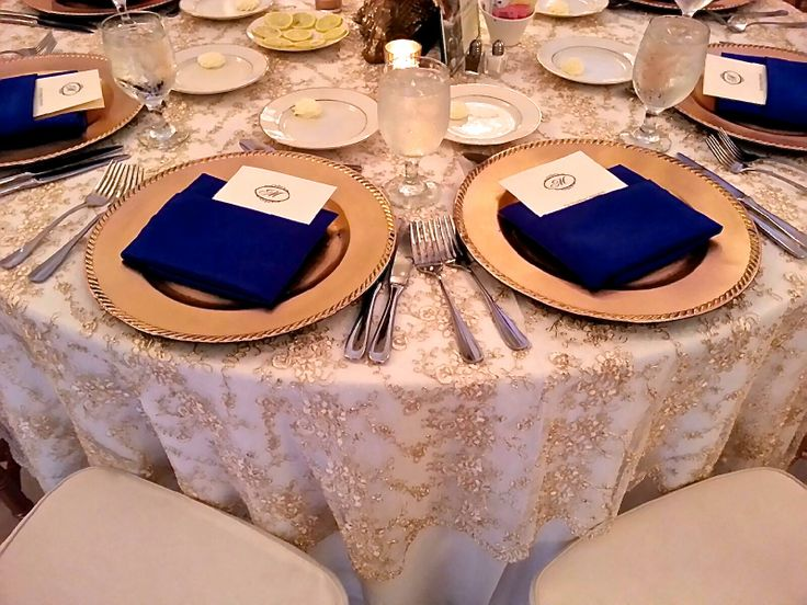 Gold Lace Table Linens With Royal Blue Accents | Blue And Gold Wedding By  Table Covers