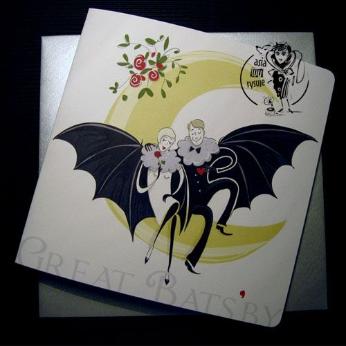GREAT BATS'BY ASIAWURYSUJE . KARTKI czyli nietoperz też człowiek :-)   Kartka okolicznościowa dla romantycznych nocnych marków,z autorską ilustracją
