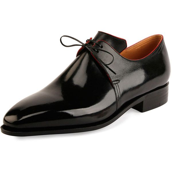 Corthay Arca Calf Leather Derby Shoe with Red Piping ($1,600) ❤ liked on Polyvore featuring men's fashion, men's shoes, men's dress shoes, black, mens black shoes, mens derby shoes, mens red dress shoes, mens black dress shoes and mens black derby shoes