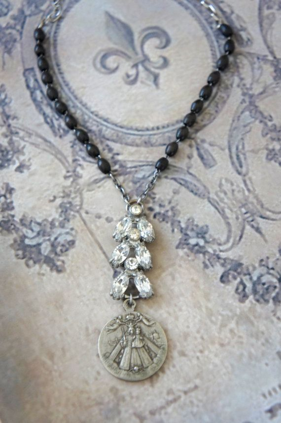 Peace and Love-Vintage assemblage necklace religious medal deco rhinestone rosary beads assemblage jewelry F306-by French Feather Designs