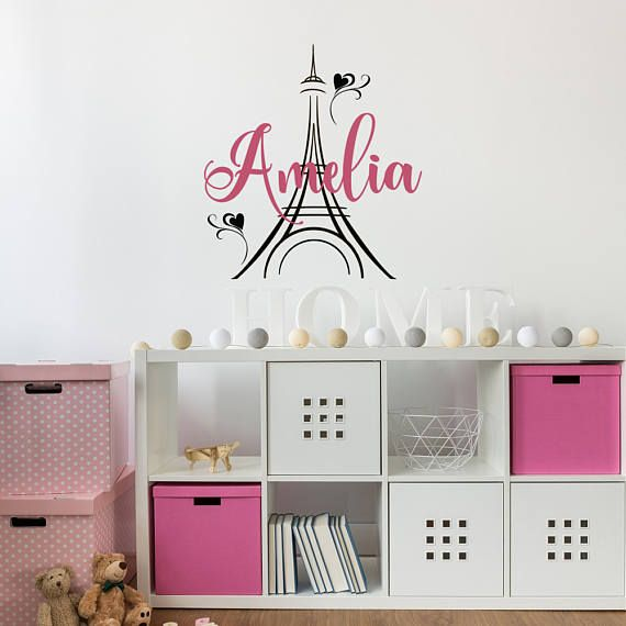 Girl Name Wall Decal Paris Theme Decor Personalized Paris #eiffeltower #nursery #girl #ideas #decor #personalized #name