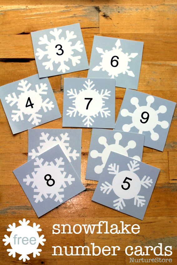 free number cards printable - use to make 'magic' numbers! Snow counting cards printable. Winter math center printable. Alphabet printable version too.