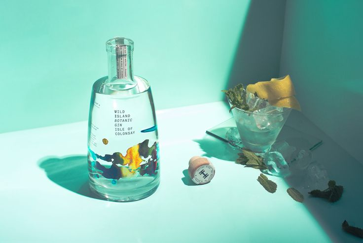 Wild Island Botanic Gin is a gin from the Isle of Colonsay on the outer reaches of Scotland. The design, created by Thirst Craft, is created using watercolour artwork which represents an iconic bay on the island. The simple brand identity is influenced by the island's rich Viking history.