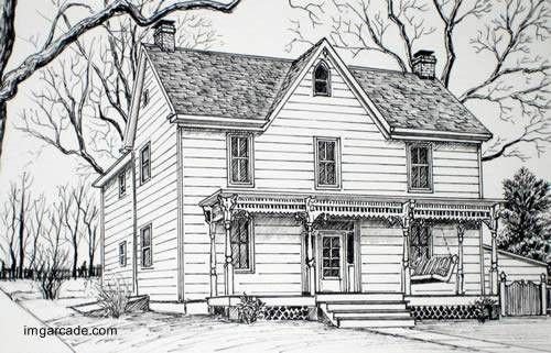 Casa de campo americana hecha de madera arquitectura pinterest drawings sketches and art - Casas dibujadas a lapiz ...