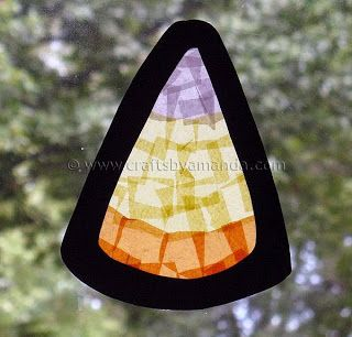 Easy fall craft for children Yea. I can use the sticky adhesive paper and tissue paper squares to make window sun catcher candy corn for a Halloween craft w the girls. Great for kindergarten, pre school, first grade maybe.