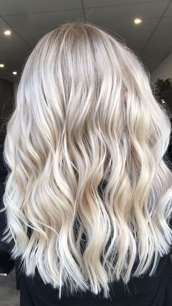 white ash blonde highlight with long waves