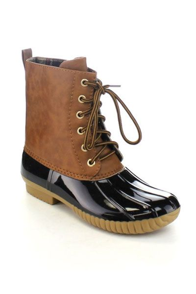 Classic Lace Up Rubber Duck Boots-Black & Camel Brown