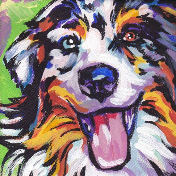 Australian Shepherd art print modern Dog art print blue merle aussie pop dog art bright colors 8x8 inch