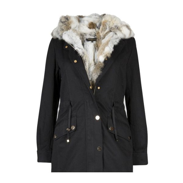 Black parka coat with hood