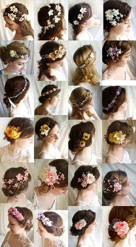 not necessarilyn flower headbands but little flowers throughout the hair like Lucrezia does with pearls