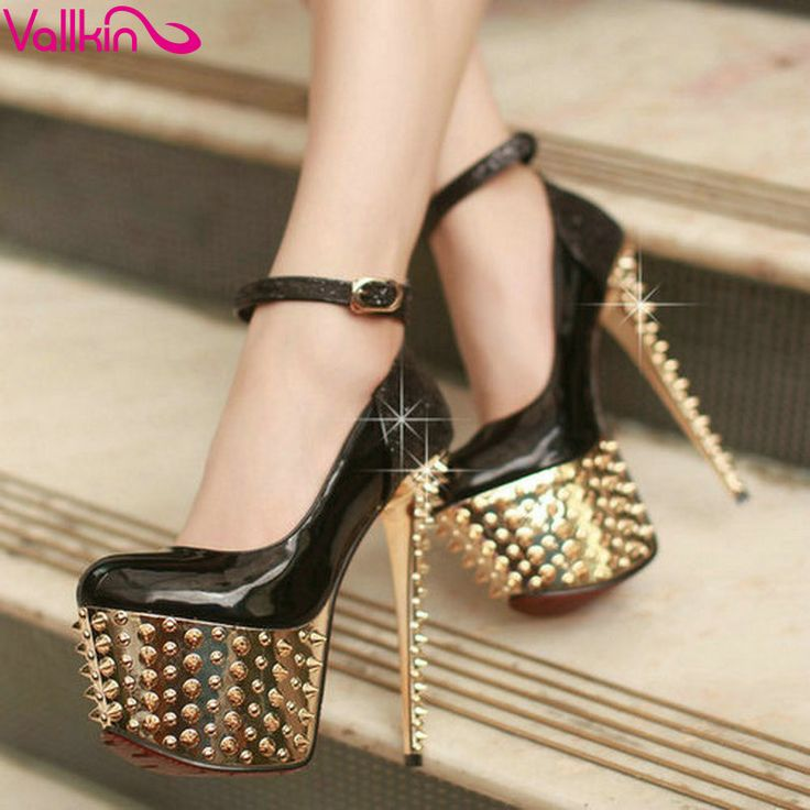 Super High Heel Mary Jane Heels with Rivets
