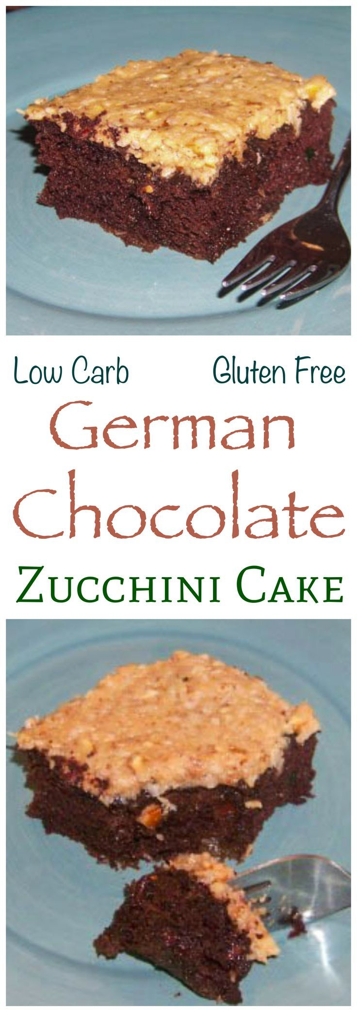 A delicious sugar free and low carb German chocolate zucchini cake. This zucchini and coconut flour based chocolate cake is super moist and gluten free.