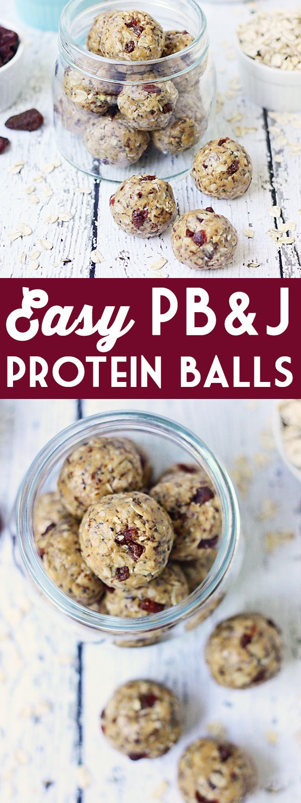 Easy PB&J Protein Balls -- PB&J protein balls are perfect for PB&J lovers looking for a healthy, protein-packed snack thanks to creamy peanut butter and diced dried strawberries. | isthisreallymylife.com #FueledByBobs @bobsredmill
