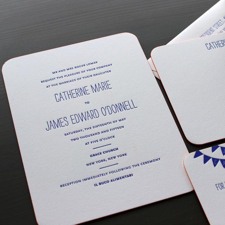 Strangelove Blue Modern Letterpress Wedding Invitation 34