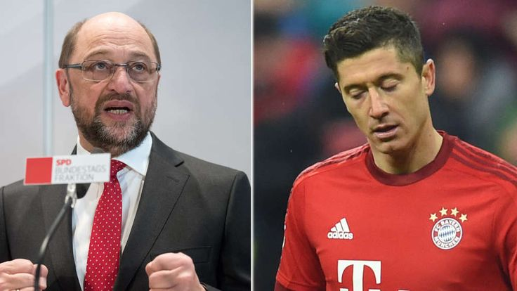 Ein Plan von SPD-Kanzlerkandidat Martin Schulz (links) könnte die Bundesliga-Vereine Millionen kosten. Er nimmt die Gehälter von Top-Verdienern wie Robert Lewandowski (rechts) ins Visier.