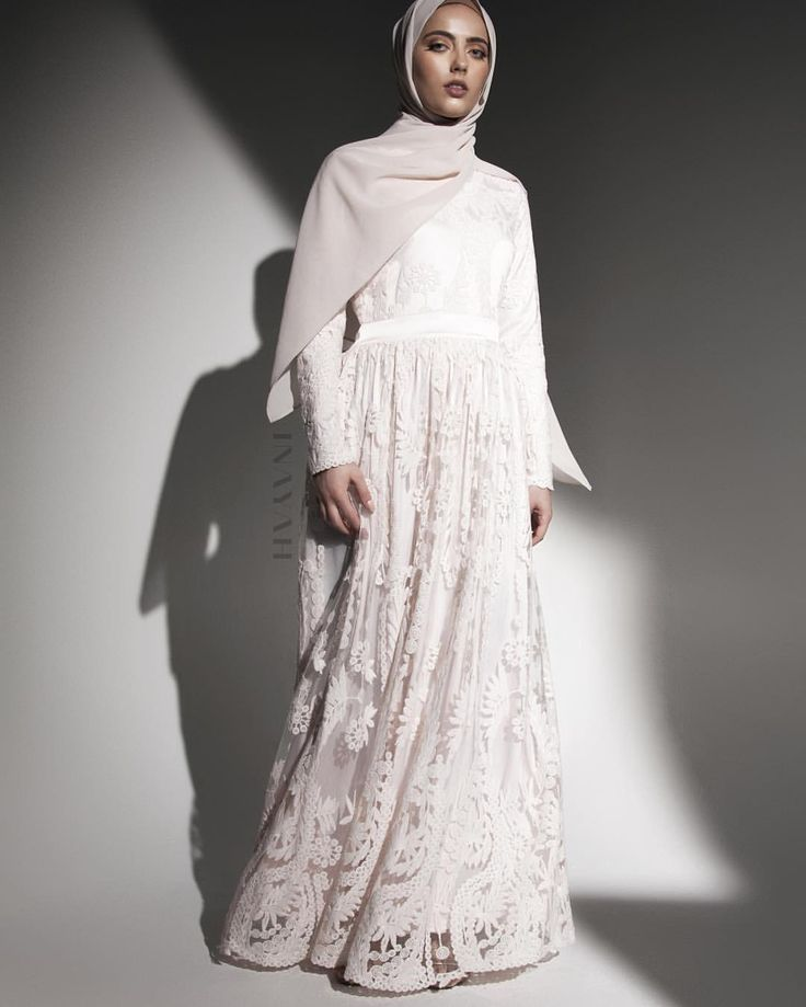 INAYAH | Structured gowns fashioned in swathes of pink lace - Ashlyn #Lace #Gown in Pink + Oatmeal Soft Crepe #Hijab - www.inayah.co