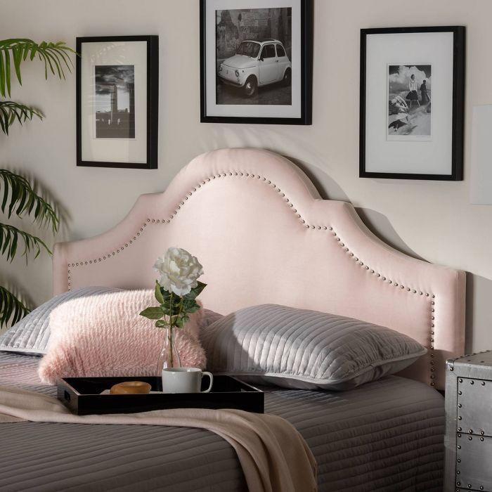 Rita Velvet Headboard Light Pink Baxton Studio In 2020 Pink