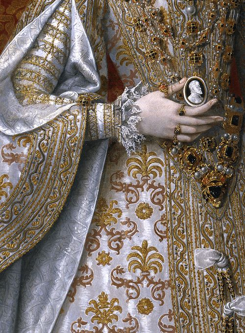 DETAIL~ GOLD THREAD EMBROIDERY ON CLOTH OF SILVER FABRIC~ Alonso Sánchez Coello, The infanta Isabella Clara Eugenia and Magdalena Ruiz (detail) c.1585–88