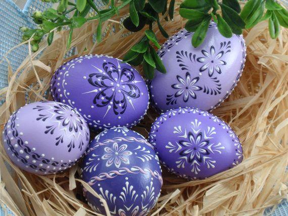 Set of 5 Easter Eggs in Purple, Decorated Chicken Eggs, Wax-Embossed Polish Pysanky, Kraslice. $69,95, via Etsy.