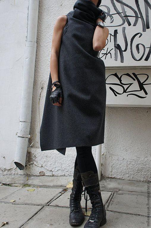 Купить Серое пальто без рукавов Fantasy - темно-серый, пальто, верхняя одежда, жилет