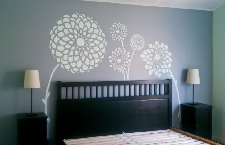 Dahlia wall mural for master bedroom by designer, Annie Helen. Paint colors: Venetian Pearl by Behr and Silver Spring by Benjamin Moore. Hemnes bed frame and nightstands. King size bed. Interior design by Annie Helen. #dahlia #wall_mural #design