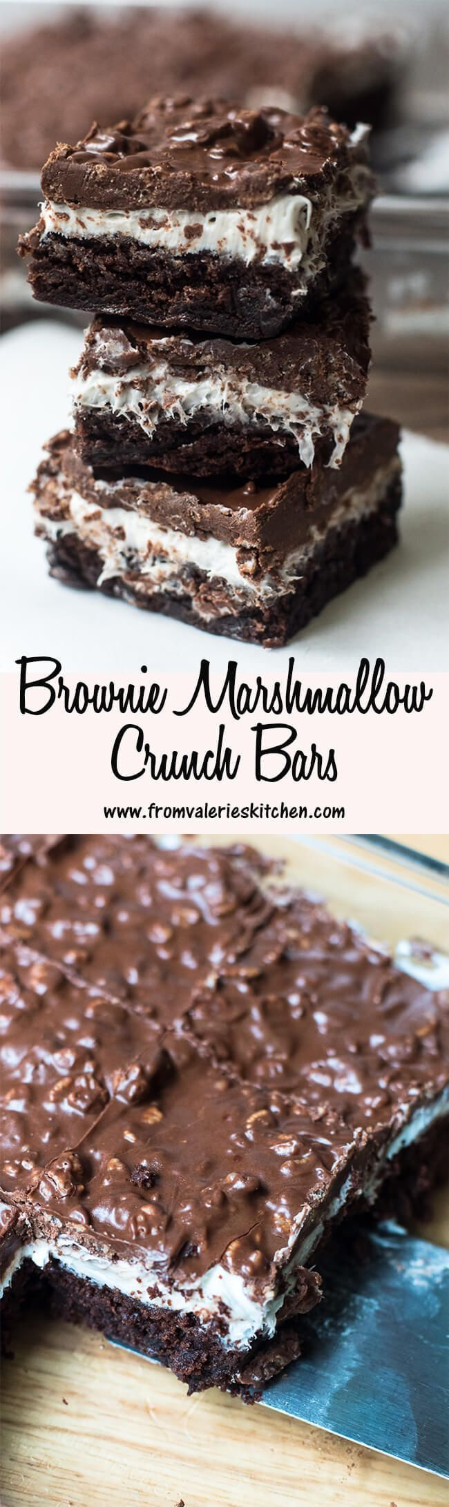 Brownie Marshmallow Crunch Bars ~ www.fromvaleriesk....... ** See even more by visiting the photo