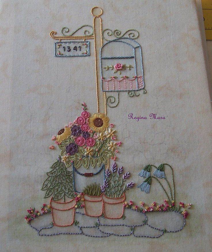 My English Country Garden Quilt - Hand embroidery with watercolour painting - block 12