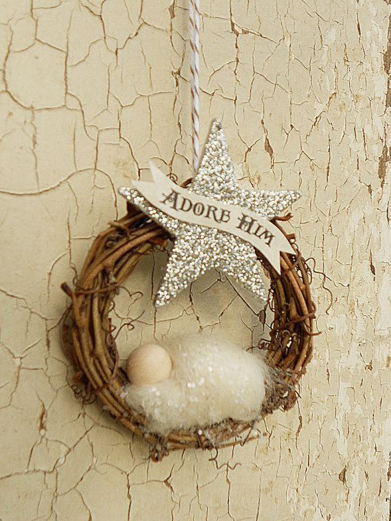 17 Nativity Ornament Adore Him Banner