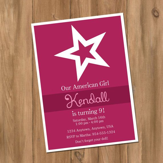 American Girl Inspired Birthday Party Invitation by DigiPrintz, $10.00 – AG