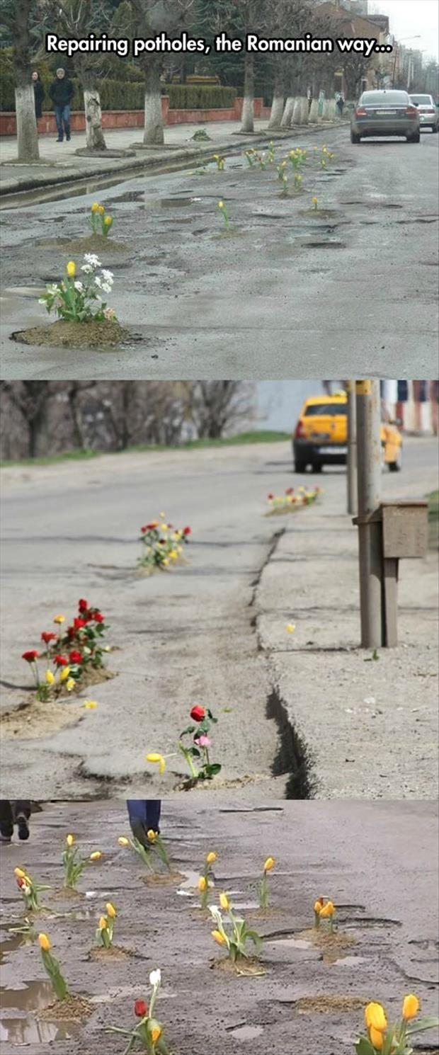 Как в Румынии борятся с выбоинами на дорогах