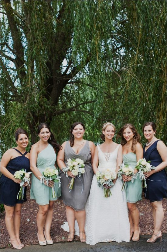 mint, navy and grey bridesmaids dresses #mismatchedbridesmaids http://www.weddingchicks.com/2013/11/25/big-bash-wedding/