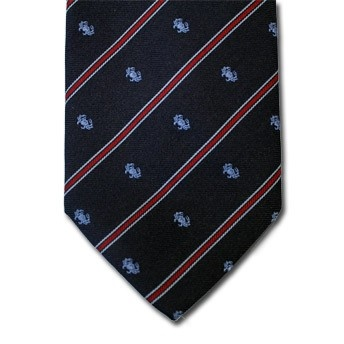 Cancer - Blue pure silk tie with zodiac sign and contrasting stipe, easy to match