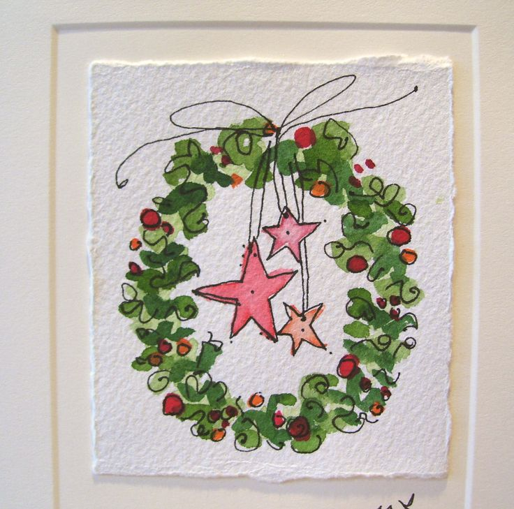Christmas Watercolor Card Good Wreath Original