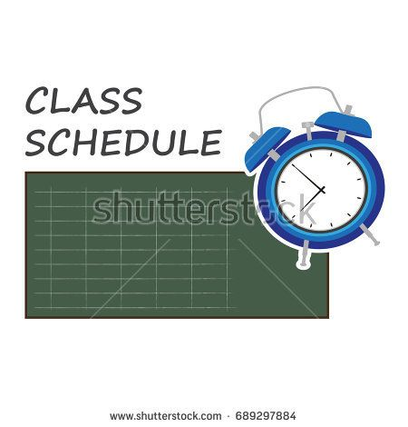 class schedule. vector illustration of planner with green board and the blue clock.