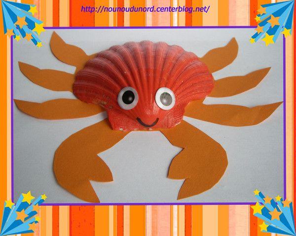 Petit crabe avec une coquille st jacques explications sur - Bricolage avec coquillage ...