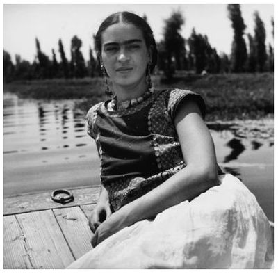 Frida Kahlo on a boat in Xochimilco, Mexico City, 1937. Image © Fritz Henle  (1909 – 1993).