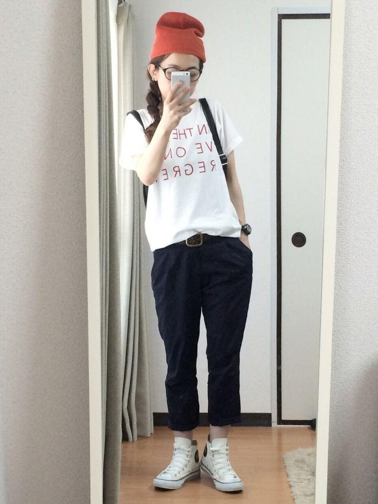 masakiさんのTシャツ/カットソー「OZOC ロゴプリントテールカットTシャツ」を使ったコーディネート