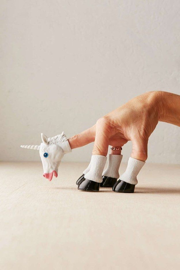 This unicorn finger puppet.   17 Gifts For All The Eternally Immature People In Your Life