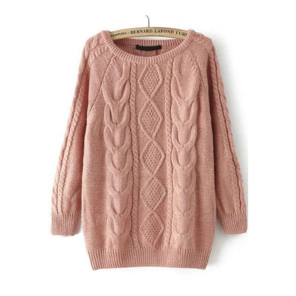 SheIn(sheinside) Cable Knit Loose Pink Sweater (72 BRL) ❤ liked on Polyvore featuring tops, sweaters, sheinside, pink, long sleeve pullover sweater, pink sweater, beige sweater, cable-knit sweater and acrylic sweater