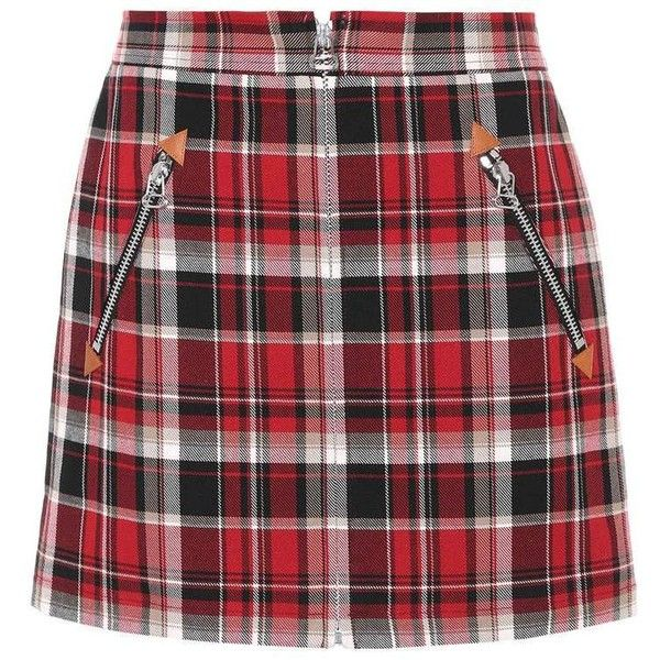 Rag & Bone Plaid Cotton Miniskirt (1085 TND) ❤ liked on Polyvore featuring skirts, mini skirts, bottoms, multicoloured, plaid mini skirt, cotton skirts, red tartan skirt, tartan skirt and plaid miniskirts