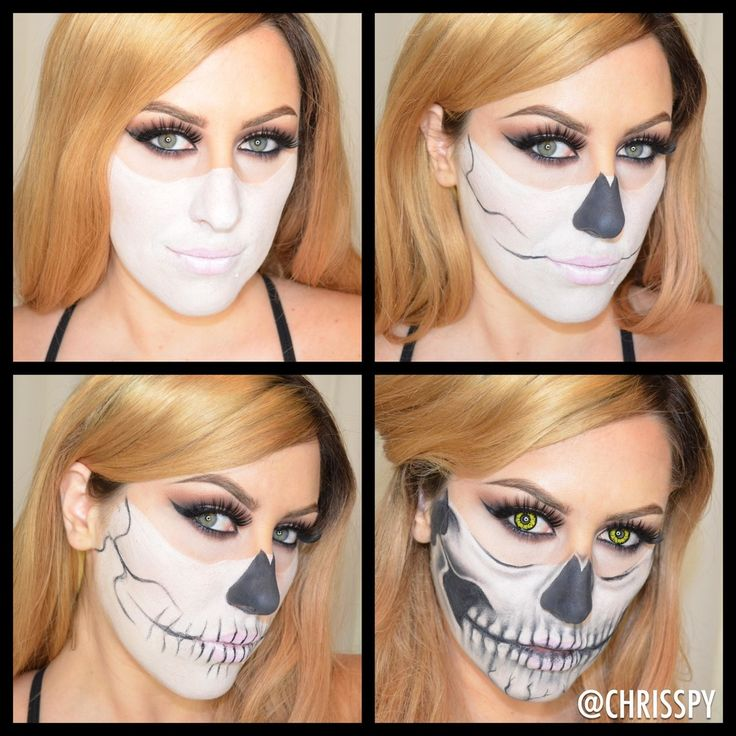 Half Skull Halloween Pictorial!   Products: White Cream Makeup (CVS), Black Cream Makeup (CVS), MAC Carbon  Eyeshadow, Contacts from AngelContacts.com  Steps: First I painted the face white with a medium sized flat brush. I  didn't make it clown white, I wanted it a little translucent. Next I filled  in the nose and started to outline the features of the skull using an angle  brush. Once everything was outlined then I shaded the face using carbon and  the black paint and a small eyeshadow…